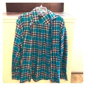 Land's End XL teal flannel